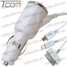 Автозарядка штекер прикуривателя - штекер iPhone4, штекер iPhone5, штекер micro USB с кабелем, Tcom