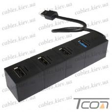 USB HUB на 4 порта (v.2.0/3.0), 480 Мбит/с - 5Гбит/с, чёрный, Tcom