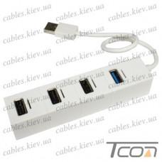 USB HUB на 4 порта (v.2.0/3.0), 480 Мбит/с - 5Гбит/с, белый, Tcom