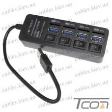 USB HUB на 4 порта (v.3.0), 5Гбит/с, с выключателями, Tcom