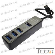 USB HUB на 4 порта (v.3.0), 5Гбит/с, серый, Tcom