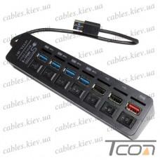 USB HUB на 6 портов (v.2.0/3.0), 480 Мбит/с - 5Гбит/с, с выключателями, Tcom