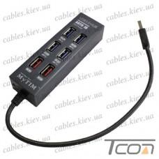 USB HUB на 6 портов (v.3.0), 5Гбит/с, чёрный, Tcom