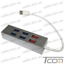 USB HUB на 6 портов (v.3.0), 5Гбит/с, серый, Tcom