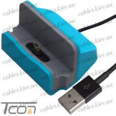 Док станция для зарядки micro USB, с шнуром USB, синяя, Tcom