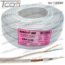"""Кабель для систем видеонаблюдения 3C2V """"EUROSAT"""", комбинированный, медный, (48%), белый, 100м"""