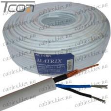 Кабель для систем видеонаблюдения 2C2V комбинированный, медный, белый, 100м, MATRIX