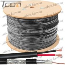 Кабель для систем видеонаблюдения RG-59 комбинированный, омедненная сталь, (64%), чёрный, 305м, KW-Link