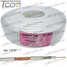 """Кабель коаксиальный RG-6 (CF609ST) """"EUROSAT"""", одножильный, лужёная сталь, (96%), белый, 100м"""