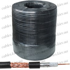 Кабель коаксиальный RG-6 одножильный, лужёная сталь, (оплётка 64%),  диам.-6,8мм, чёрный, 250м, StarPlus