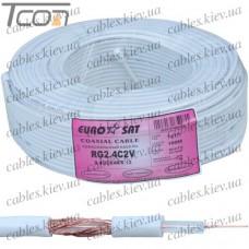 Кабель коаксиальный RG-2.4C2V одножильный, медный, (48%), белый, 100м, EUROSAT