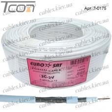 """Кабель коаксиальный (3C2V) """"EUROSAT"""", одножильный, лужёная сталь, (32%), белый, 100м"""