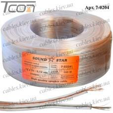 Кабель акустический, медный, 2х0,23мм.кв., прозрачный, 100м, Sound Star