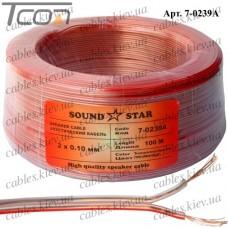 """Кабель акустический """"Sound Star"""", алюминиево-медный, 2х0,10мм.кв., прозрачный, 100м"""