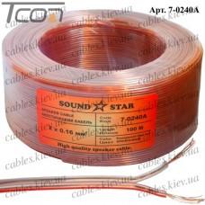 Кабель акустический, алюминиево-медный, 2х0,16мм.кв., прозрачно-розовый, 100м, Sound Star