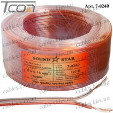 Кабель акустический медный, 2х0,16мм.кв., прозрачно-розовый, 100м, Sound Star