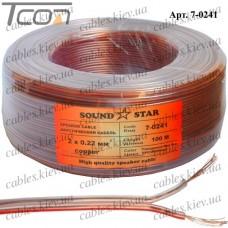 Кабель акустический, медный, 2х0,22мм.кв., прозрачный, 100м, Sound Star