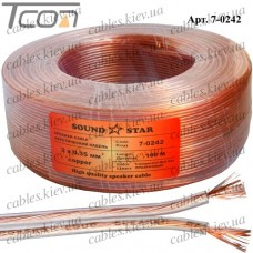 Кабель акустический, медный, 2х0,35мм.кв., прозрачный, 100м, Sound Star