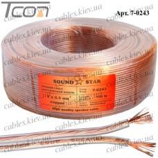Кабель акустический, медный, 2х0,50мм.кв., прозрачный, 100м, Sound Star