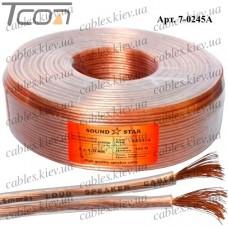 Кабель акустический, алюминиево-медный, 2х1,0мм.кв., прозрачный, 100м, Sound Star