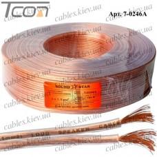 Кабель акустический, алюминиево-медный, 2х1,5мм.кв., прозрачный, 100м, Sound Star