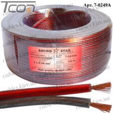Кабель акустический, алюминиево-медный, 2х0,34мм.кв, красно-чёрный, 100м, Sound Star