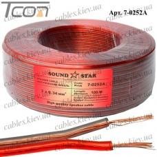 """Кабель акустический """"Sound Star"""", алюминиево-медный, 2х0,34мм.кв., красно-чёрный, 100м"""