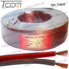 Кабель акустический медный, 2х0,57мм.кв., красно-чёрный, 100м, Sound Star