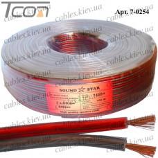 Кабель акустический, медный, 2х0,9мм.кв., красно-чёрный, 100м, Sound Star