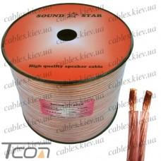 Кабель акустический, медный, 2х2,5мм.кв., прозрачно-розовый, 100м, Sound Star