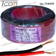 """Кабель питания """"Sound Star"""", алюминиево-медный, 2х0,10мм.кв., красно-чёрный, 100м"""