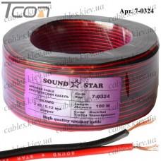 """Кабель питания """"Sound Star"""", медный, 2х0,10мм.кв., красно-чёрный, 100м"""