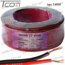 """Кабель питания """"Sound Star"""", медный, 2х0,16мм.кв., красно-чёрный, 100м"""