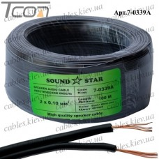 """Кабель питания """"Sound Star"""", алюминиево-медный, 2х0,10мм.кв., чёрный, 100м"""