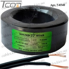 Кабель питания, медный, 2х0,16мм.кв., чёрный, 100м, Sound Star