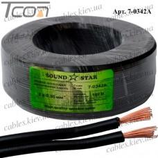 Кабель питания, алюминиево-медный, 2х0,35мм.кв., чёрный, 100м, Sound Star