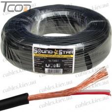 Кабель аудио-видео 2жилы, в экране, круглый, диам.-2,8мм, чёрный, 100 метров, Sound Star