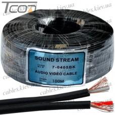 Кабель аудио-видео  2жилы, в экране плоский, 2,8х5,6мм, чёрный, 100м, Sound Stream