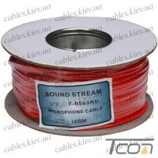 Кабель микрофонный  2жилы, диам.-4мм, красный, на катушке, 100м, Sound Stream