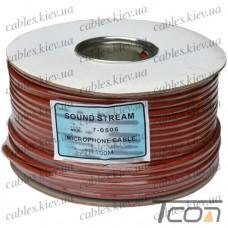 Кабель микрофонный  2 жилы, диам.-6мм (В-01), коричневый, на катушке, 100м, Sound Stream