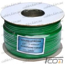 """Кабель микрофонный """"Sound Star"""" 2 жилы, диам.-6мм (В-01), зелёный, на катушке, 100м, Sound Stream"""