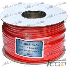 Кабель микрофонный  2жилы, диам.-6мм (B-01), красный, на катушке, 100м, Sound Stream