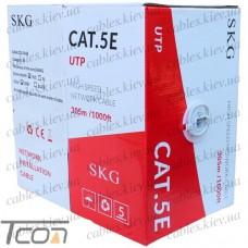 Кабель компьютерный витая пара UTP Cat.5e 4x2x(0,51CCA), диам.-5,3мм, серый, 305м, SKG