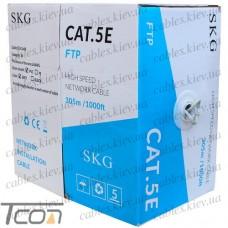"""Кабель компьютерный """"витая пара FTP Cat.5e 4x2x(0,51CCA), диам.-6,3мм, серый, 305м, SKG"""