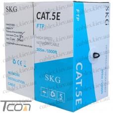 Кабель компьютерный витая пара FTP (PE) Сat.5e 4х2x(0.51CCA), наружный, чёрный, 305м, SKG