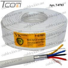 """Кабель сигнальный """"VKcable"""" 4жилы, в экране, 4Cх(7х0,22мм) CU, белый, 100м"""