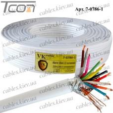 Кабель сигнальный 10жил, в экране, 10Cх(7х0,22мм) CCA, белый, 100м, VKcable