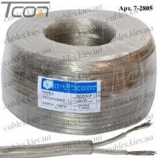 """Кабель электрический """"Multicom"""" 2x0,35кв.мм., лужёный алюминиево-медный, круглый, прозрачный, 100м"""