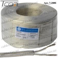 Кабель электрический 2x0,5кв.мм., лужёный алюминиево-медный, круглый, прозрачный, 100м, Multicom