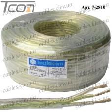 """Кабель электрический """"Multicom"""" 3x0,75кв.мм., лужёный алюминиево-медный, круглый, прозрачный, 100м"""